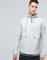 Pretty Green Jacket With Hood Showerproof In Slim Fit Grey