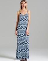 Aqua Maxi Dress - Zigzag Print Cami