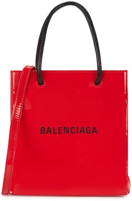 Balenciaga Shopping XXS red patent leather tote