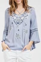 Blu Pepper Embroidered Bell Sleeve Top