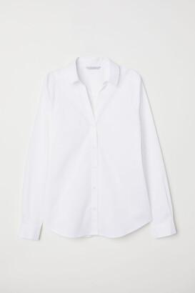 H&M V-neck Shirt - White