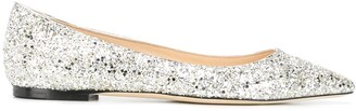 Jimmy Choo Romy glitter-embellished ballerina shoes