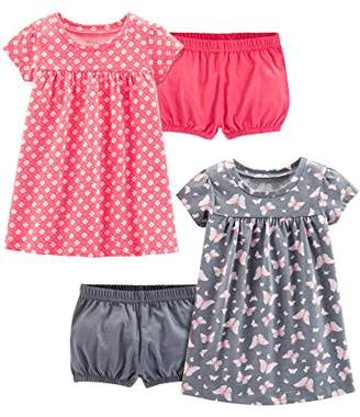 Carter's Simple Joys by Girls' 2-Pack Short-Sleeve and Sleeveless Dress Sets