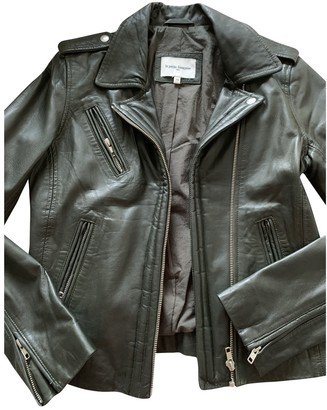 La Petite Francaise Green Leather Jacket for Women