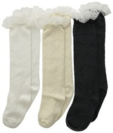 Jefferies Socks Lace Boot Knee High 3 Pack Ivory White Charcoal) Girls Shoes