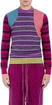 Loewe Men's Mixed-Stripe Wool-Blend Patchwork Sweater