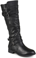 Journee Collection Black Bite Wide-Calf Riding Boot