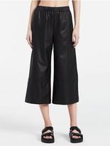 Calvin Klein Platinum Leather Elasticated Wide Leg Pants