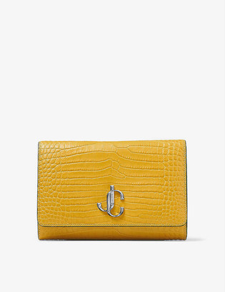 Jimmy Choo Varenne crocodile-embossed leather clutch bag