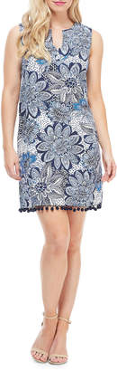 London Times Floral Sleeveless Pompom Trim Shift Dress