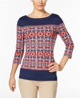 Charter Club Petite Boat-Neck Printed Top, Only at Macy's