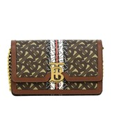 Burberry Carrie Bag In Saffiano Leather With Exclusive Monogram Print