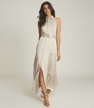 Reiss KEIRA OPEN BACK BELTED MAXI DRESS Champagne