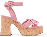 Miu Miu Satin-trimmed Suede And Cork Platform Sandals - Baby pink