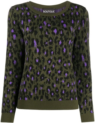 Boutique Moschino Leopard Print Knitted Top