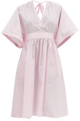 Loup Charmant Keiko Wide-sleeve Organic-cotton Poplin Dress - Pink