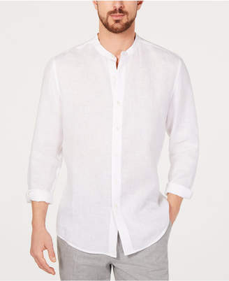Tasso Elba Men Banded Collar Linen Shirt