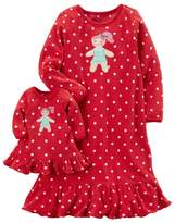 Carter's Toddler Girl 2-pc. Gingerbread Girl Dotted Night Gown and Doll Gown Set
