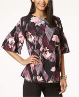 Alfani Prima Floral-Print Flutter-Sleeve Top, Created for Macy's