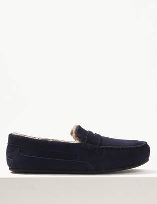 Fresh Feet M&S CollectionMarks and Spencer Suede Slip-on Slippers with Freshfeet
