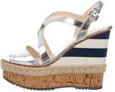 Prada Metallic Wedge Sandals