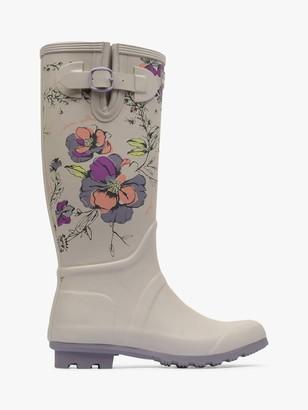 Radley Alba Floral Print Waterproof Tall Wellington Boots, Grey