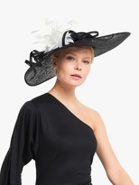 John Lewis & Partners Evelyn Feather and Loop Disc Occasion Hat, Black/White