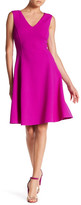 Oscar de la Renta Sleeveless V-Neck Silk Lined Wool Blend Dress