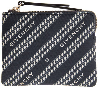 Givenchy Navy Diagonal Logo Zip Wallet