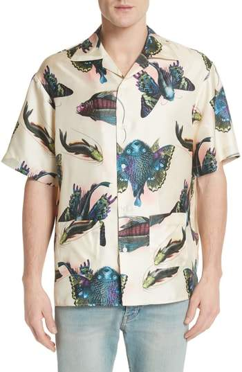 Gucci Flying Fish Silk Bowling Shirt