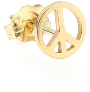 Chicco Zoë 14K Yellow Gold Peace Sign Single Stud Earring