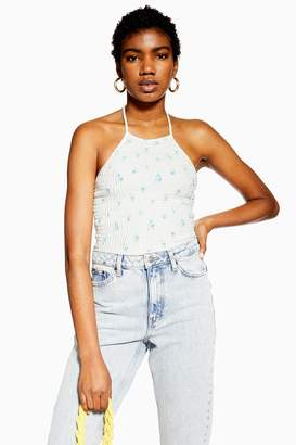 Topshop Womens Shirred Floral Halter Neck Top - White