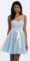 Camille La Vie Pearl Glitter Tulle One Shoulder Homecoming Dress
