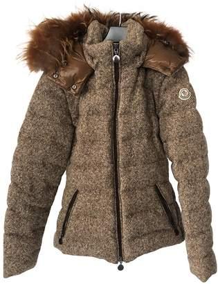 Moncler Fur Hood Brown Wool Coats