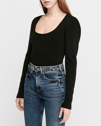 Express Fitted Puff Sleeve Scoop Neck Sweater
