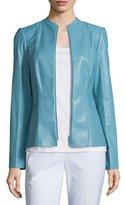 Lafayette 148 New York Denise Lambskin Leather Zip-Front Jacket