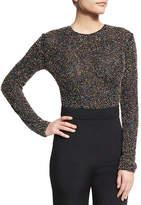 Cushnie et Ochs Beaded Mesh Long-Sleeve Thong Bodysuit, Black/Multicolor