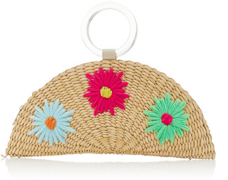 Poolside Croissant Floral-Embroidered Straw Bag