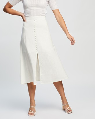 Atmos & Here Atmos&Here - Women's White Midi Skirts - Vicki Button Front Linen Skirt - Size 14 at The Iconic