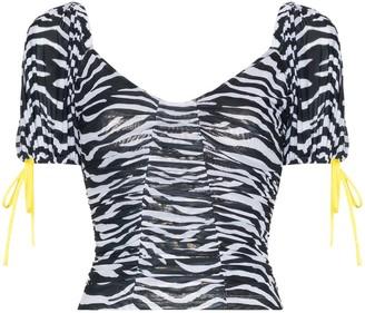 STAUD Zebra mesh crop top