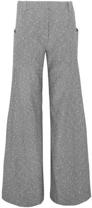 Topshop Embroidered Wool-blend Wide-leg Pants