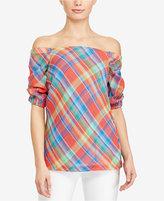 Lauren Ralph Lauren Plaid Off-The-Shoulder Cotton Top