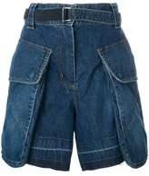 Sacai belted denim shorts