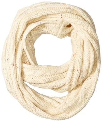 BearPaw Women's Cable Knit Infinity Scarf with Multicolor Flecked Yarns