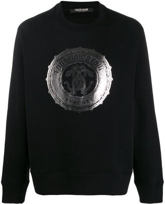 Roberto Cavalli foil logo print sweatshirt
