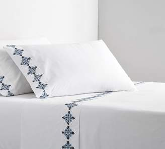 Pottery Barn Tile Embroidered Organic Percale Sheet Set