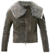Haider Ackermann Shearling-collar leather jacket