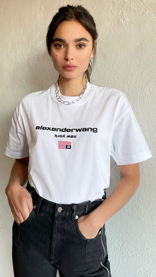 Thumbnail for your product : Alexander Wang Short Sleeve Logo Graphic Tee