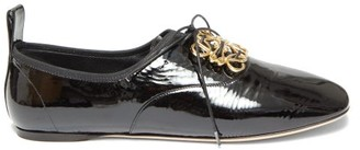 Loewe Anagram-plaque Patent-leather Oxford Shoes - Black