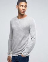 Asos Grandad Neck Jumper In Merino Wool Mix